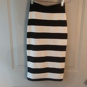 Black and cream striped stretch skirt